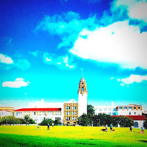 Hello World Urban Landscape Eyemnaturelover San Francisco Dolores Park Landscapes Missionhighschool Sky Porn Color Splash Blue Sky Shades Of Blue Blue Vibrant The Great Outdoors - 2016 EyeEm Awards