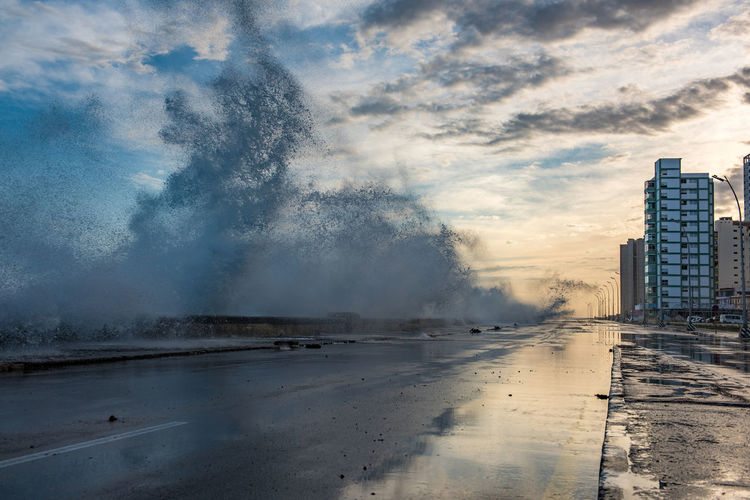 Storms on the Mexican Golf whipped up the waves crashing on Havana's Malecón. Not many divers drove their cars through this salt water shower early that morning. Architecture Beauty In Nature Building Exterior City City Cuba Day Havana Malecon Nature No People Outdoors Scenics Sea Sky Storm Sunrise The Great Outdoors - 2017 EyeEm Awards The Street Photographer - 2017 EyeEm Awards Water Been There.