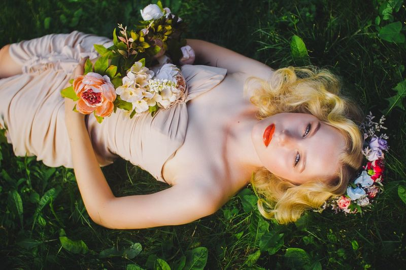 Beauty Blond Hair Bohemian Bouquet Bride Flower Flower Collection Flowers, Nature And Beauty Lying Down Melancholy Portrait Summer Wedding Wedding Photography