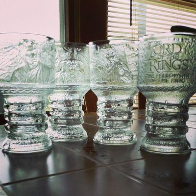 Best flea market find yet. LOTR goblets circa 2001. A fine vintage. Fleamarketfind LOTR Nerdgirlproblems Fellowshipofthering youjelly
