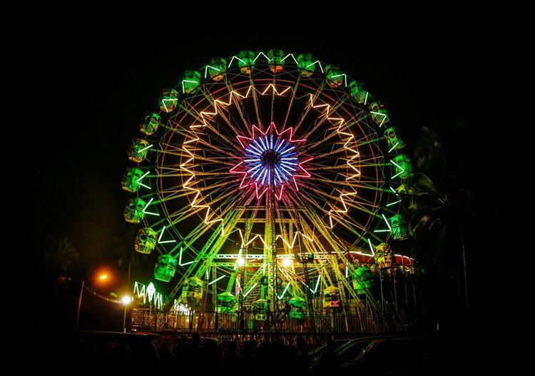 Night Illuminated Ferris Wheel Outdoors Celebration Multi Colored Conon 5d