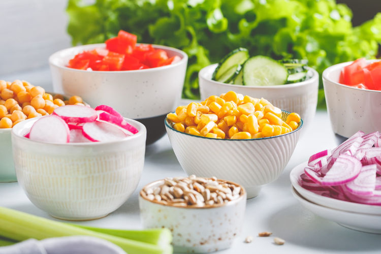 Close-up of ingredients in bowl on table
