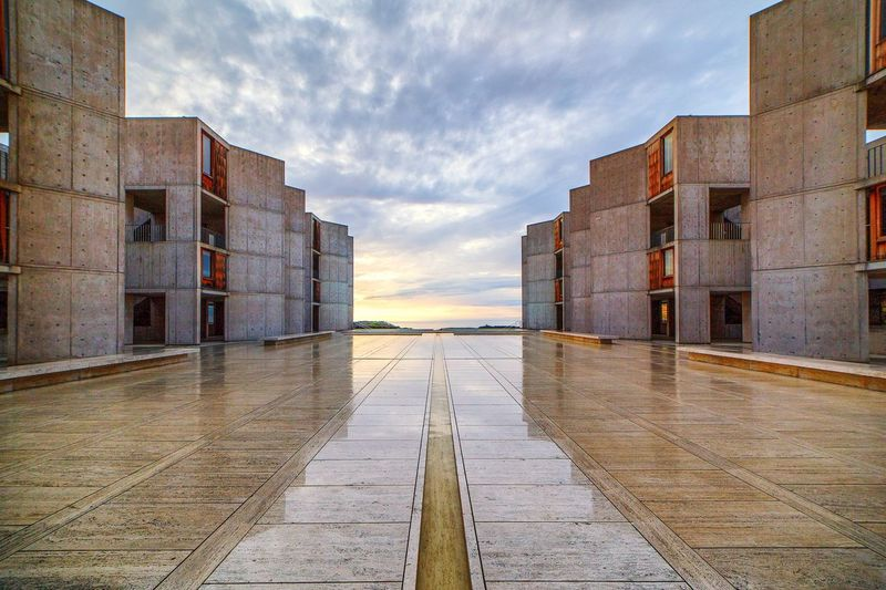 Exterior Of Salk Institute For Biological Studies Against Cloudy Sky