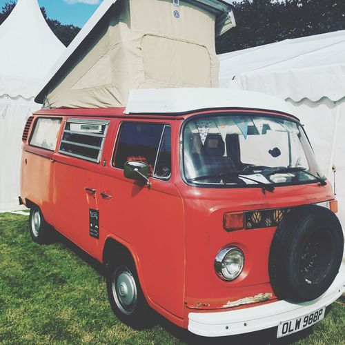 Vw Camper Van VW Mode Of Transportation Land Vehicle Transportation Red Motor Vehicle Day Car Outdoors Field Van - Vehicle White Color Plant Grass Architecture Land Truck Stationary No People Nature