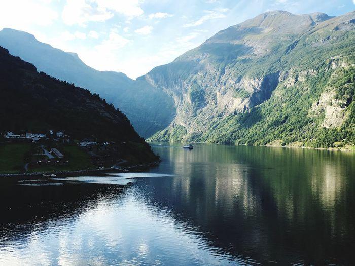 Fjord Norge🇳🇴 Sky Idyllic Reflection Landscape Waterfront
