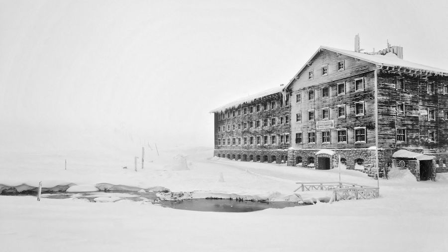 Ice Karkonosze Mountains Lucni Bouda Sudety Wooden Facade Architecture Building Exterior Built Structure Clear Sky Cold Temperature Day Extreme Weather Frozen Mountain Hotel Nature No People Outdoors Shelter Snow Snow Covered Snowdrift Snowing Stream Weather Winter