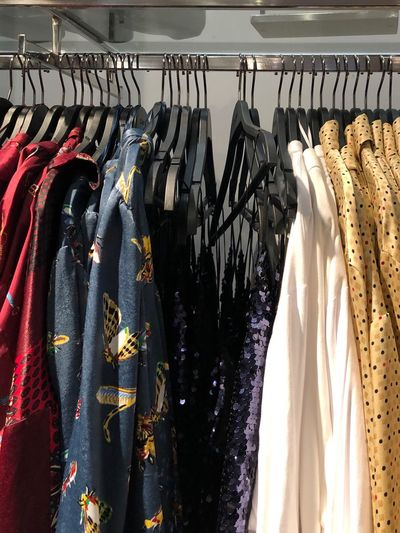 Clothes hanging at store