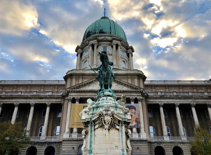 Sculpture Budapest Sightseeing Clouds Hungary Museum Sculpture Architecture Built Structure Building Exterior Sky Low Angle View Cloud - Sky Building Travel Destinations Tourism Art And Craft History The Past Place Of Worship