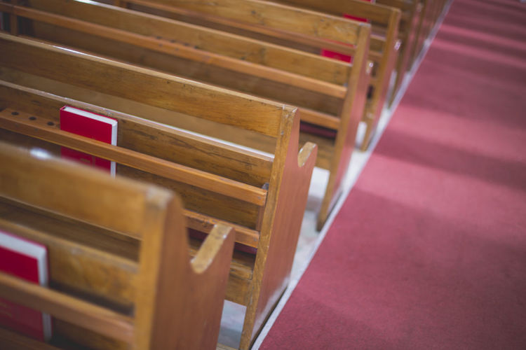 Church Absence Arrangement Bench Chair Church Architecture Churches Container Furniture High Angle View In A Row Indoors  Large Group Of Objects Music No People Order Red Repetition Seat Selective Focus Still Life Table Wood - Material