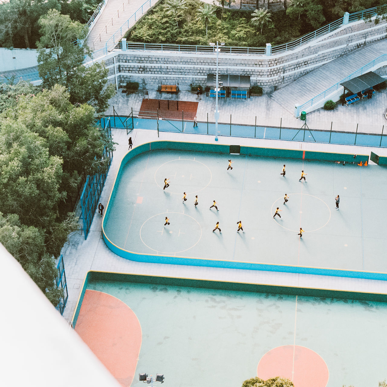High Angle View Of People Practicing At Sports Venue