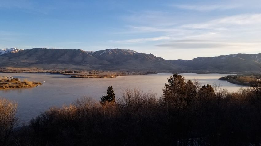 sunrise over lake Sunrise Reflection Pineview Dam Utah Icy Lake Cloud - Sky Winter Landscape Winter Day Landscape_photography Trees And Nature Mountain Lake Water Landscape Outdoors Scenics Mountain Range No People Beauty In Nature Nature Day Sky