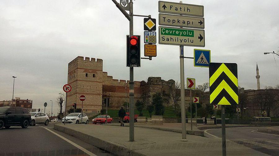 On The Way Turkey Istanbul City Fatih Walls Of Topkapi BizansSurları In The Car