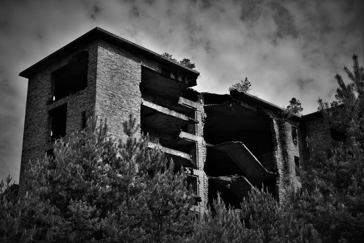 Low angle view of abandoned building by plants
