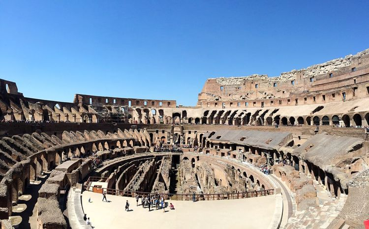 Rome Italy Colosseum Old Ruin Large Group Of People Amphitheater History Ancient Travel Destinations Tourism Built Structure Ancient Civilization Archaeology Architecture