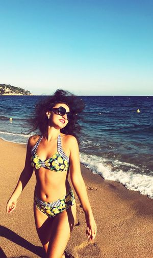 Sea Beach Bikini Sunglasses Sand Horizon Over Water Water Beauty In Nature Summer Nature Vacations One Person Young Adult Real People Clear Sky Scenics Leisure Activity Young Women Beautiful Woman Outdoors
