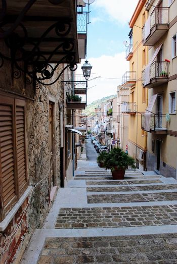 Collesano Linens Italy Italian Sicily Sicilia Architecture Building Exterior Built Structure City Street Building The Way Forward Residential District Day No People Staircase Footpath Narrow Diminishing Perspective Town