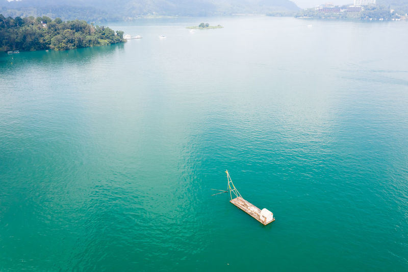 Aerial view of nautical vessel in lake