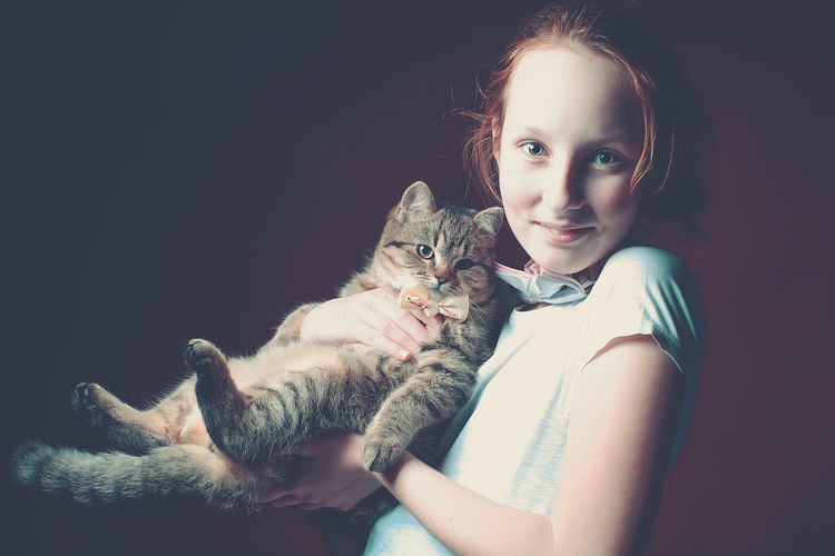 Cat Child Domestic Animals Domestic Cat Friendship Friendship. ♡   Girl One Animal Pets Portrait Trust Pet Portraits
