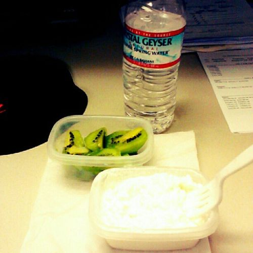 My #yummy #breakfast of #kiwi, #cottagecheese, and a #bottleofwater. #diet #weightloss #foodstagram #skinny #thinsperation #thinspo #fitness #fitsperation #fitspo #foodstagram #foodie #healthyfood #healthy #lowfat #lowcarb #lowcal #lowcalorie #countingcal Breakfast Yummy Foodie Healthy Fitness Kiwi Fitspo Eatright Lowcal Fitsperation Eatingclean Countingcalories Thinsperation