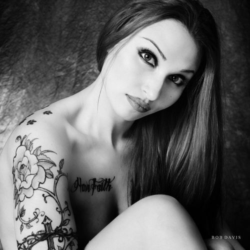monochrome Nikon Beautiful Woman Beauty Black And White Front View Headshot Leisure Activity Lifestyles Long Hair Looking At Camera Monochrome On1 One Person Portrait Tattoo Women Young Adult Young Women