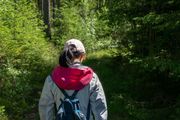 Rear View Of Backpacker In Forest