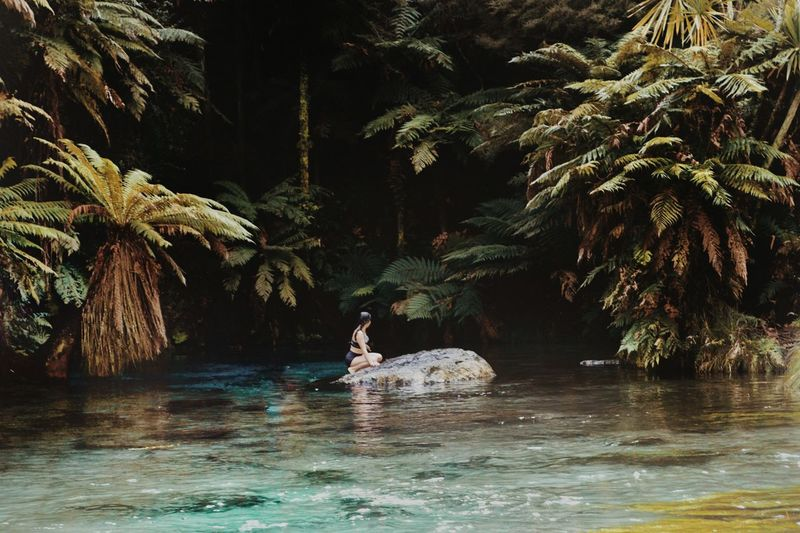Woman Sitting On Rock In River Against Trees