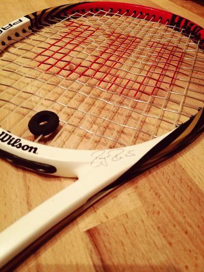 Just a photo of a tennis racket Tennis Racket Wilson  Pro Staff Federer