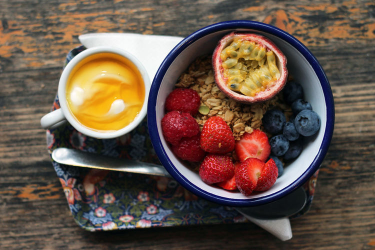 Directly Above Shot Of Fruits With Coffee And Oats On Table