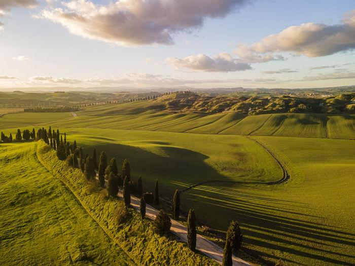 Countryside around siena. drone view.