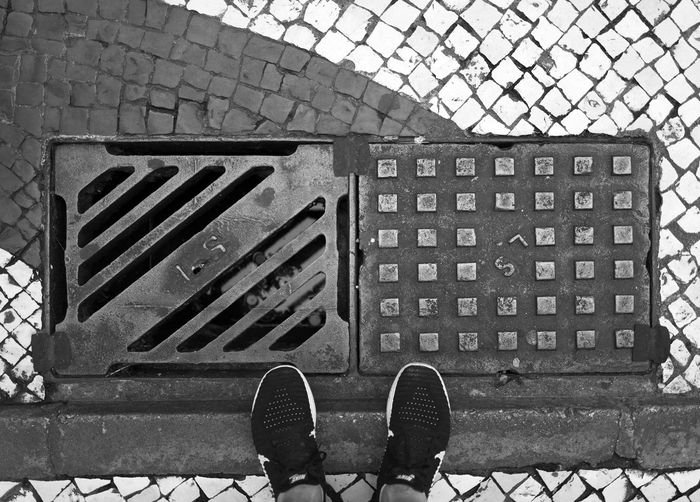 Low Section Personal Perspective Human Body Part Shoe Body Part Metal Human Leg Directly Above Unrecognizable Person High Angle View One Person Metal Grate Grate Day Standing Manhole  Street Architecture Sewage Grid Human Foot Outdoors Steel