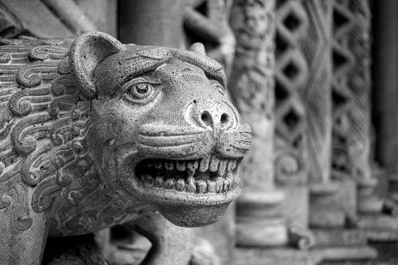 Architecture Art And Craft Building Built Structure Carving Carving - Craft Product Close-up Craft Creativity Day Focus On Foreground Gargoyle Human Representation Lion - Feline Monster - Fictional Character Mouth Open No People Representation Sculpture Statue