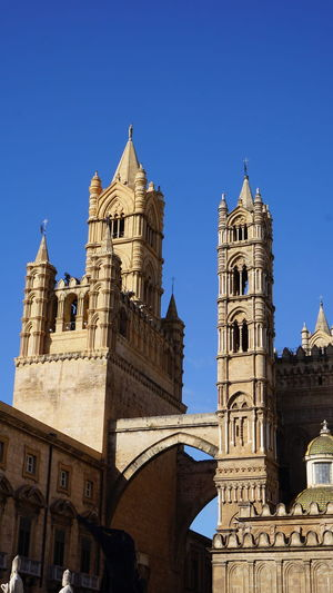 Towers and arch. Cathedral of Palermo. Palermo, Sicily, Italy. Sony Sonyalpha Sony A6000 Photographer Photo Photography EyeEm Best Shots EyeEm Selects Italy Sicily Palermo Palermo Cathedral Archs Cathedral Palermo City History Sky Architecture Building Exterior Place Of Worship Catholicism Tower Church Cathedral Religion Christianity Cross Bell Tower Bell Tower - Tower Spirituality