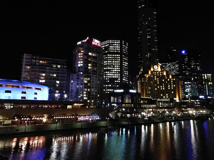 Melbourne Night Cityscape Downtown District Yarra River Outdoors