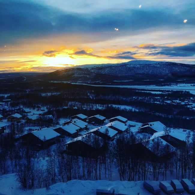 Happy New Year New Years Norrland Sweden Tärnaby Hemavan Snow Winter Cold Temperature House Mountain Sunset
