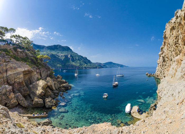 Foradada Majorca Mallorca SPAIN Bay Beach Beauty In Nature Mountain Nature Nautical Vessel Outdoors Scenics - Nature Sea Tramontana Tranquil Scene Water Yacht Yachting The Great Outdoors - 2018 EyeEm Awards