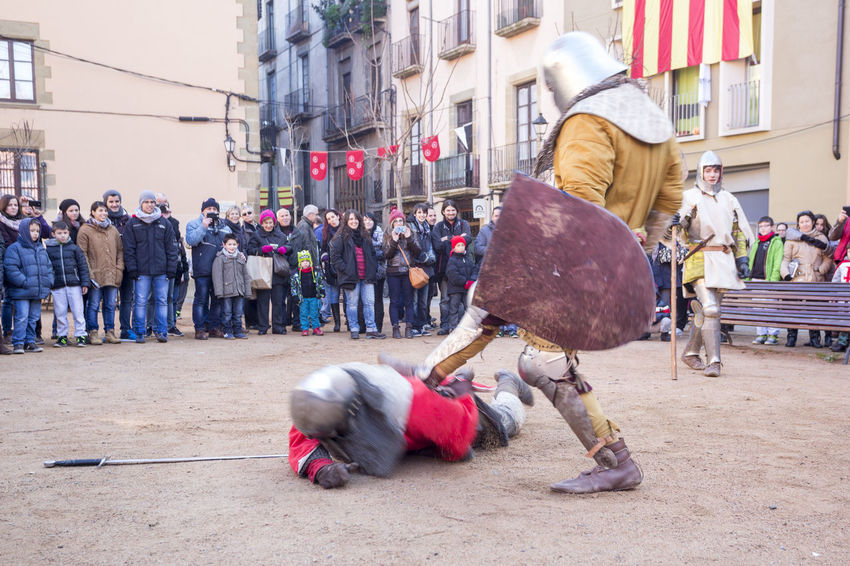 Medieval combat Catalonia Catalunya Colorful Colors Combat Costume Culture Event Exhibition Fight Fighting Helmet Medieval Medieval Soldier Shield Show Soldier Street Sword Traditional Weapon