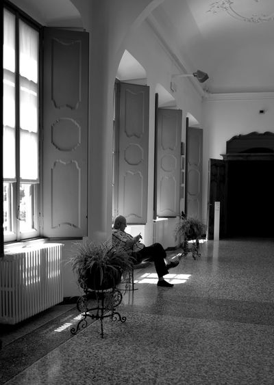 35mm LEICA M NEM Black&white Shadows & Lights Architecture Blackandwhite Photography Built Structure Chair Day Full Length Guardian Angel Indoors  Leicacamera Men Museum Old House Old Italian House One Person Real People Sitting Villa Panza