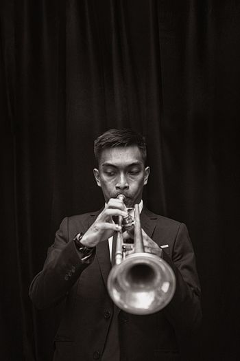 Man With Trumpet Man Trumpet Life Jazz Music One Person Indoors  Close-up Black Background Musician People Live For The Story
