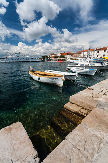 View of fishing boats in harbor
