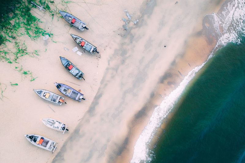 Extreme Sports Flying Aerial View Sand Beach City Above High Angle View Sunset Crowd