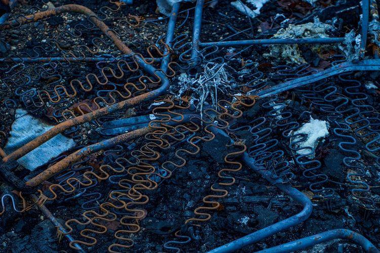 Full frame shot of rusty metal during winter