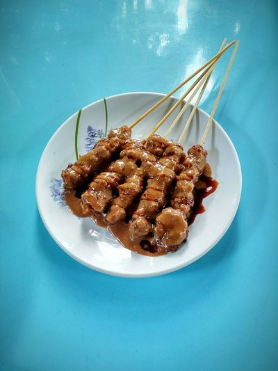 satay Satay With Bamboo Stick Vegetarian Food Peanut Sauce Classic Food Plate Sweet Food Food And Drink
