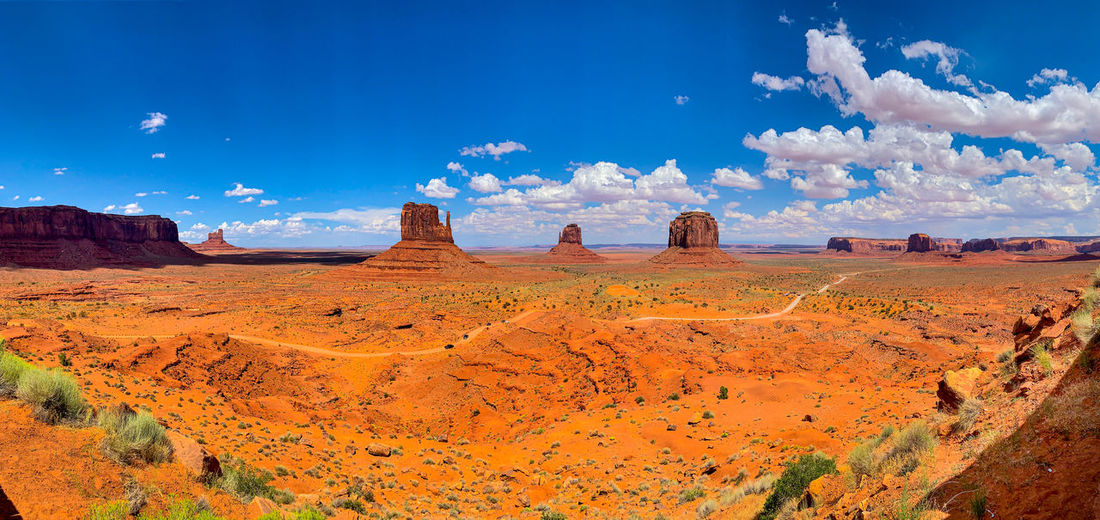 Panoramic view of landscape against blue sky