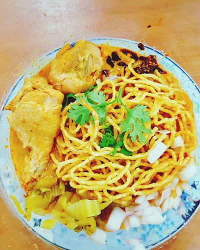 """My lunch Currynoodles Chaingmainoodles Noodles Food CurrySoup Chickencurry Traditionalfood Lunch Delicious """"chicken curry noodles """""""