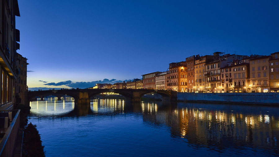 Quiet Arno Firenze Travel Architecture Blue Bridge - Man Made Structure Building Exterior Built Structure City Clear Sky Connection Florence Illuminated Italy Night No People Outdoors Reflection River Sky Water