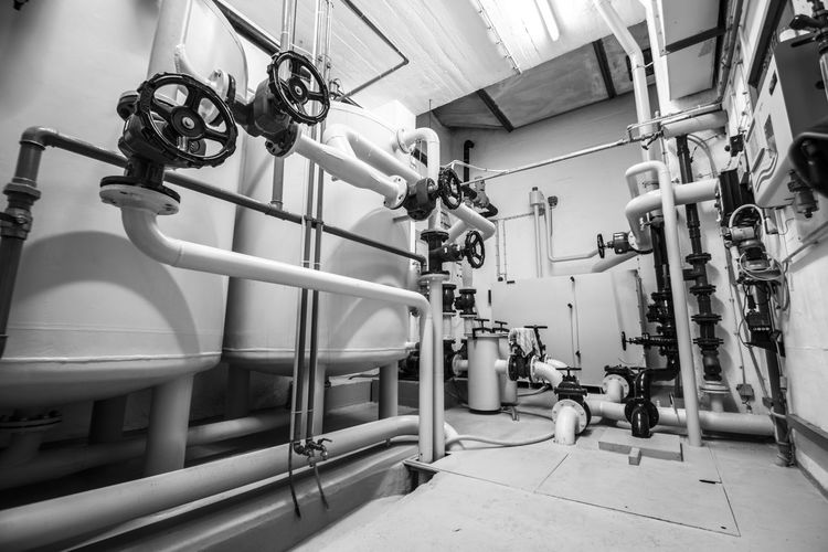 Valves on pipes in industry