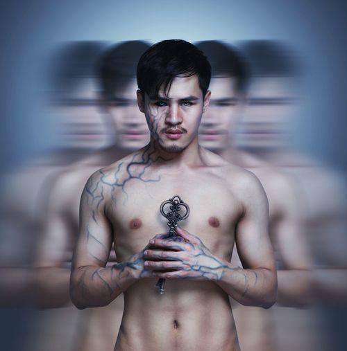 Multiple image of shirtless man holding key