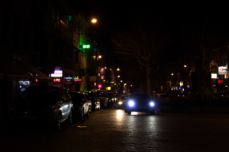 Architecture Car Check This Out City City Life City Street Illuminated Land Vehicle Night No People Outdoors Police Car Road Sky Street Street Light Taking Photos Transportation Travel Destinations