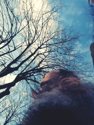 it's almost Christmas Bare Tree Branch Nature Outdoors Beauty In Nature Human Body Part Close-up Sky People