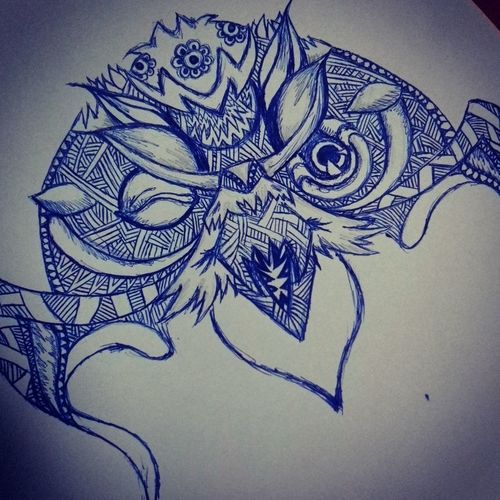 My Drawings ArtWork Owl Tattoo Graphic Scetching